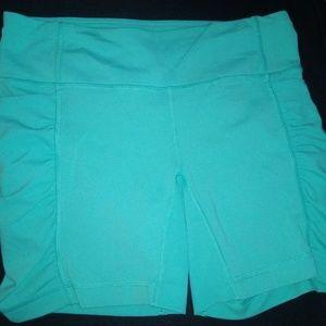 Mint Green Lululemon Ruched Bike Shorts SZ 8